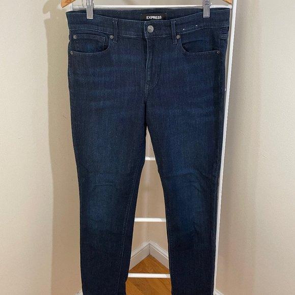 Express Super Skinny Midrise Jeans, Dark Rinse